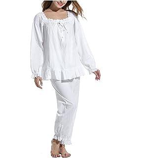 771f9b146e Womens 2 Set Cotton Victorian White Long Sleeve Pajama Set Nightgown  Sleepwear