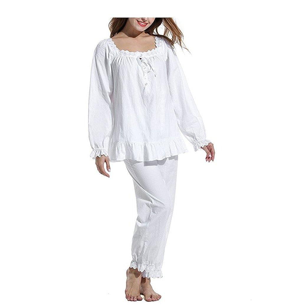 Women's 2 Set Cotton Sleepwear Victorian Pajama Set Long Sleeve Nightgown Europax