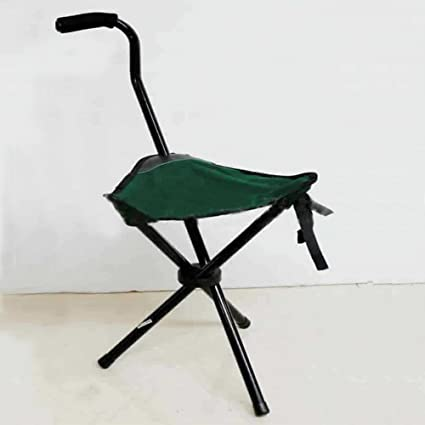 Attirant Folding Portable Travel Cane Walking Stick Seat Camp Stool Chair
