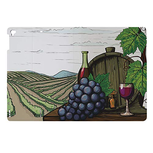 Compatible with 3D Printed iPad 9.7 Case,Slim Lightweight Anti-Scratch Shell PU Leather Stand Shell,Vineyards Grapes Leaves Drink Barrel Agriculture