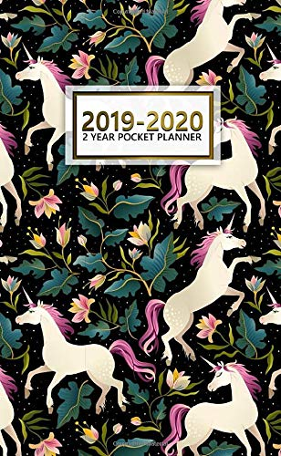2019-2020 2 Year Pocket Planner: Two-Year Monthly Floral Unicorn Pocket Planner with Phone Book, Password Log and Notebook. Cute Black 24 Month Agenda, Calendar and Organizer.