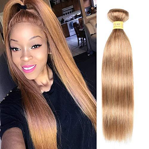 Brazilian Silky Straight Human Hair One Bundle Honey Blonde Color 27#, 8A Unprocessed Virgin Human Hair Bundles for Black Women(16