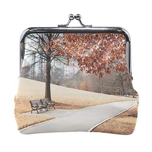 (Your Home Coin Purse City Landscape Park Path Autumn Foliage Trees Benches Lawn Grass Hillside Building Print Wallet Exquisite Clasp Coin Purse Girls Women Clutch Handbag )