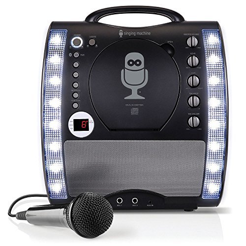 Karaoke Portable System Cdg (The Singing Machine Portable CDG + Bluetooth Karaoke System with LED Disco Lights and Microphone)