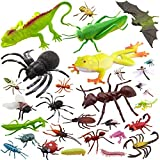 Pinowu 27pcs Bug Toy Figures Playset for Kids Boys, 2-6' Fake Bug Insects - Fake Spiders, Cockroaches, Scorpions, Crickets, Lady Bugs, Butterflies and Worms for Education and Christmas Party Favors