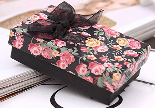 Flower Patterned Black Bowknot Display Jewelry Ring/Necklace/Earrings Gift Box
