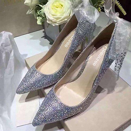 - Xue Qiqi Court Schuhe Brautschuhe Hochzeit Schuhe weibliche Strass Prinzessin Hochzeit Hochzeit Kristall Schuhe gut mit Spitzen High Heels weiblich, 42, Silber Diamant 8CM