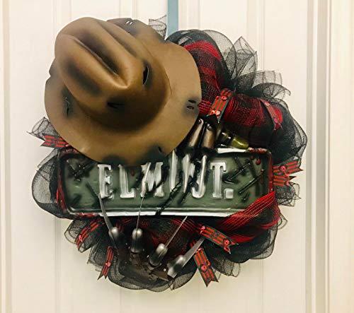 Freddy Krueger wreath, Elm Street Wreath, Halloween Wreath, Nightmare on Elm Street, Freddy wreath, halloween front door, halloween decor]()