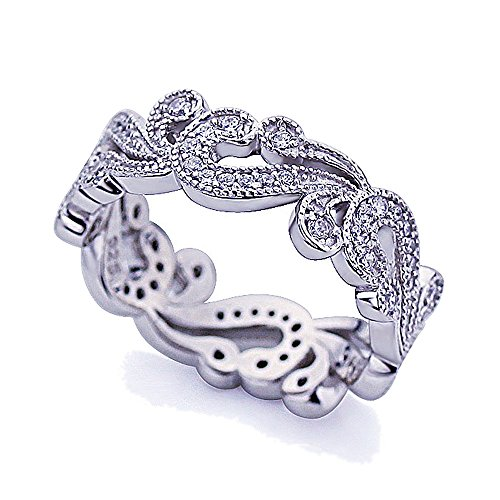 Platinum Plated Sterling Silver CZ Pave Filigree Vintage Style Band Ring ( Size 5 to 9 ), (Pave Filigree Ring)