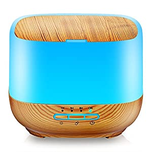 500ML Square Essential Oil Diffuser Humidifiers Ultrasonic Aromatherapy Diffusers with 4 Timer Settings 7 Color Changing and Waterless Auto Shut-off for Home Office Living Room Yoga Spa