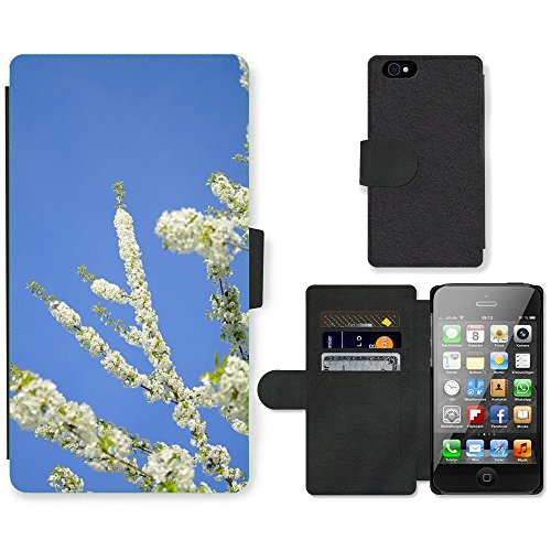Just Phone Cases PU Leather Flip Custodia Protettiva Case Cover per // M00129192 Cherry Blossoms Fleurs Arbre Blanc // Apple iPhone 4 4S 4G