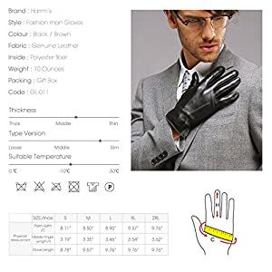 "Harrms Best Touchscreen Nappa Genuine Leather Gloves for men's Texting Driving Cashmere Lining (2XL-9.8""(US Standard Size), BLACK(CASHMERE LINING ))"