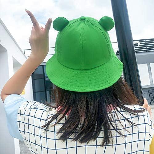 zum Angeln Wandern n/ützlich niedlicher Frosch-Hut aus Baumwolle Schwarz Chutoral Fischerhut f/ür Damen