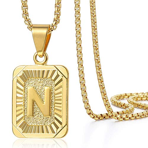Trendsmax Initial Letter Pendant Necklace Mens Womens Capital Letter Yellow Gold Plated N Stainless Steel Box Chain 22inch