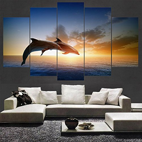 PEACOCK JEWELS [LARGE] Premium Quality Canvas Printed Wall Art Poster 5 Pieces/5 Pannel Wall Decor Jumping Dolphins Painting, Home Decor Pictures - Stretched Dolphin Wall Decor
