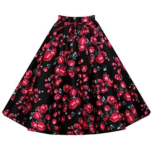 YuanDian Mujer Verano Retro 50s Rockabilly Falda Midi A Linea Plisada Campana Vuelo Fiesta Oscilación Alto Cintura Faldas Rose