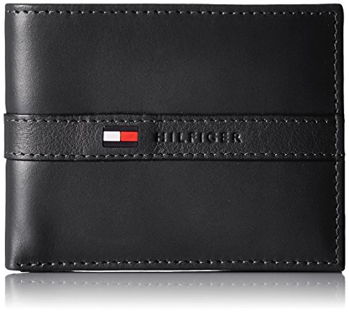- 51Qs07wfy7L - Tommy Hilfiger Men's Thin Sleek Casual Bifold Wallet with 6 Credit Card Pockets and Removable Id Window