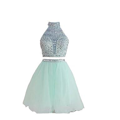 bf3fb19ace Kivary Backless Sheer Halter Crystals Beaded 2 Pieces Short Prom Homecoming  Dresses Aqua US 2