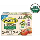 Mott's Snack & Go Organic Applesauce, No sugar added 3.2 oz (24 pouches)