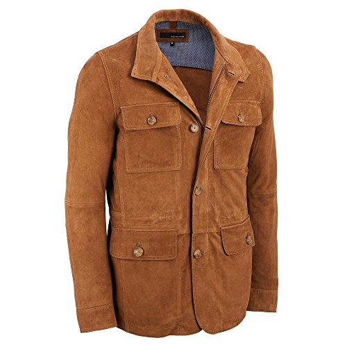 Suede Two Pocket Coat (Wilsons Leather Mens Goat Suede 4-Pocket Car Coat L Beige)