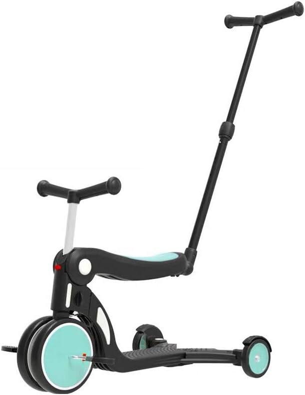 JMG Juguetes De Exterior Vespa Triciclo 5 En 1 Balance De Bicicletas Walker Infantil Vespa Bicicletas 1 Regalo De Los Niños Año Nuevo A 6 Años con El Putter para,Azul