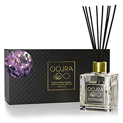 OOJRA Essential Oil Reed Diffuser Gift Set, Glass Bottle, Reed Sticks, Natural Scented Long Lasting Fragrance Oil (3+ Months 4 oz) for Aromatherapy and Air Freshener