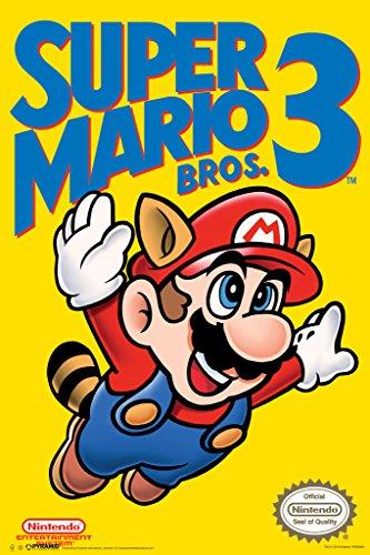 Pyramid America Super Mario Bros 3 Nintendo NES Platform Video Game Cover Art Mario Flying Raccoon Ears Tail Poster 12x18 inch