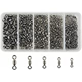 JSHANMEI 320pcs/box Fishing Rolling Swivels Strong Fishing Tackle Accessories Line to Hook Connectors Size 2 4 6 8 10