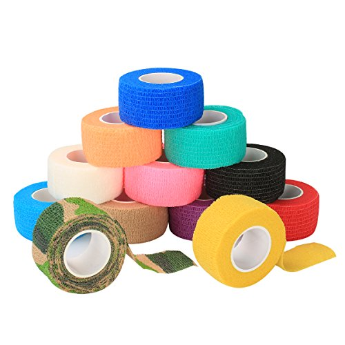 Self Adherent Elastic (Self Adherent Cohesive Wrap Bandages, Elastic First Aid Stick Wrap Athletic Tape (1, 2 Inches) X 5 Yards, Rainbow Color (Pack of 12, 6) for Wrist and Ankle Sprain Swelling and Soreness (1inch × 12))