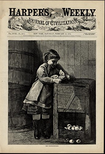 Young Girl Caring for Newly Hatched Chicks nice 1874 great old print for display