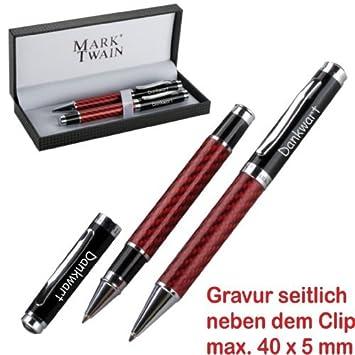 """Metall Schreibset mit Gravur  /""""Mark Twain/"""" Drehkugelschreiber Füller"""