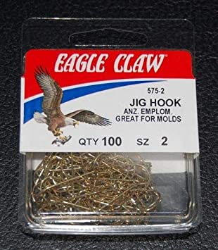 100 Eagle Claw 575 Size 2 Gold 90 Degree Light Jig Hooks Do It Molds 575-02
