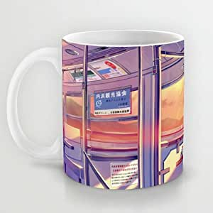 Great Gift Choice - Gaming Mugs,White 11 oz Classic White Ceramic Mugs with Anime Schoolgirl In Train Coffee Mugs/Tea Mugs/Drink Cups - Dishwasher and Microwave Safe