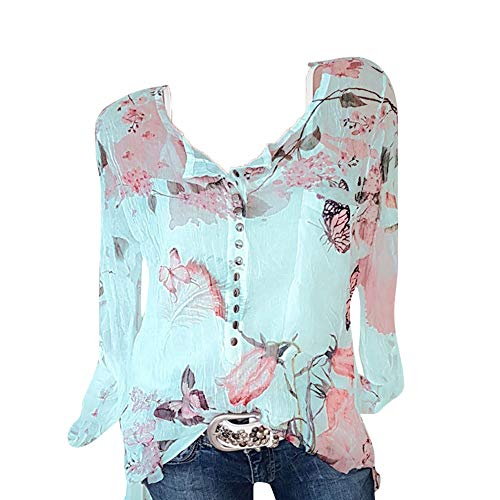 Seaintheson Sexy Women's Tops, Women Casual Chiffon Irregular Hem Top Floral Printed Button T-Shirt Blouse Tee Green