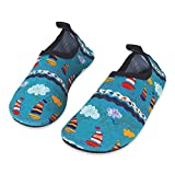 HMIYA Kids Beach Shoes Swim Water Shoes Toddler Shoes Boys Girls Barefoot Aqua Socks for Children Pool Surfing Yoga Seaside Sport(Green,Size 12)