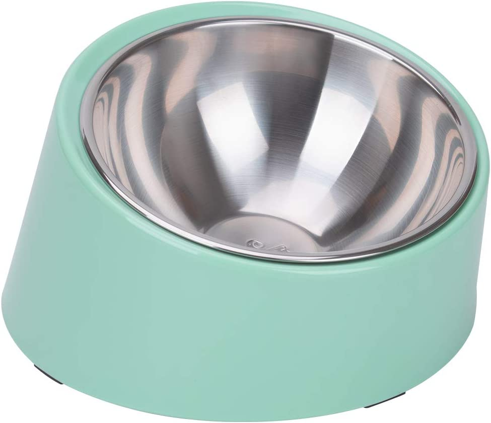 Super Design Mess Free 15° Slanted Bowl for Dogs and Cats, Tilted Angle Bulldog Bowl Pet Feeder, Non-Skid & Non-Spill, Easier to Reach Food M/1.5 Cup Light Green