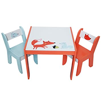 Labebe Wooden Activity Table Chair Set, Fox Printed White Toddler Table For  1 5