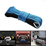Synthetic Winch Rope - 1/4''x50' Winch Cable Blue Winch Rope7500 + LBs with Sheath for atvs Winches ATV UTV SUV Truck Boat Ramsey Synthetic Winch Rope