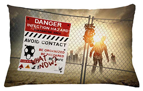 Ambesonne Zombie Throw Pillow Cushion Cover, Dead Man Walking in Dark Danger Scary Scene Fiction Halloween Infection Picture, Decorative Accent Pillow Case, 26 W X 16 L Inches, Multicolor ()