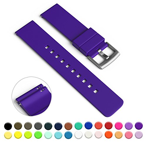 GadgetWraps 20mm Silicone Watch Strap / Band with Quick Release Pins (Medium Purple, 20mm)