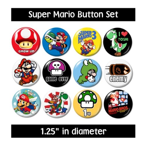 super-mario-buttons-pins-badges-nintendo-video-games-yoshi-new-by-i-love-buttons