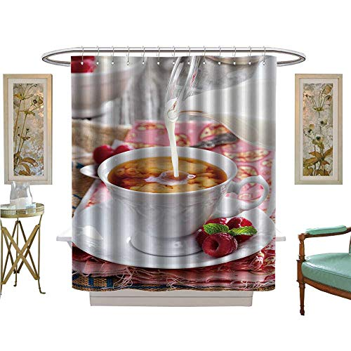 - luvoluxhome Shower Curtains Waterproof Cup of Tea with Milk Pour Over from Pitcher Patterned Shower Curtain W72 x L84