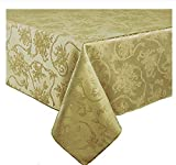 Christmas Ribbons & Poinsettia Antique Gold Damask Fabric Tablecloth (60 x 144 Rectangle/Oblong)