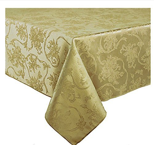Town & Country Christmas Ribbons & Poinsettia Antique Gold Damask Fabric Tablecloth (60 x 144 Rectangle/Oblong) -