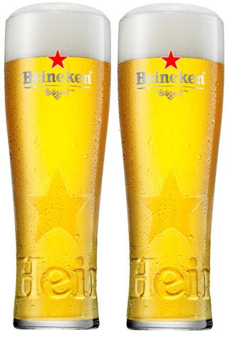 2 x Heineken Pint Glass Toughened and Nucleated 2 Glasses