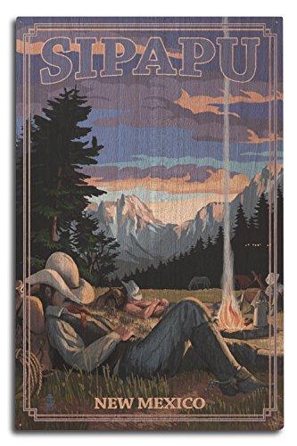 (Sipapu, New Mexico - Cowboy Camping Night Scene Press Artwrork (10x15 Wood Wall Sign, Wall Decor Ready to Hang))