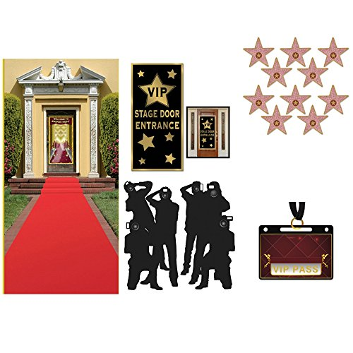 Hollywood Red Carpet Awards Ceremony Party Theme Supplies and Decorating Kit - Red Runner, Paparazzi Props, VIP Entrance Door Cover, Star Cutouts and 20 VIP PASS Stickers (Bundle of 5 Items) ()