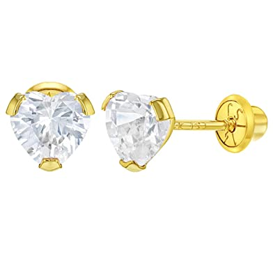 e51972eee Image Unavailable. Image not available for. Color: 14k Yellow Gold CZ Small  Heart Screw Back Earrings for Baby Toddlers Young Girls