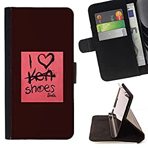 Momo Phone Case / Flip Funda de Cuero Case Cover - Chaussures Fashion Design Rose Marron - Samsung Galaxy Note 3 III