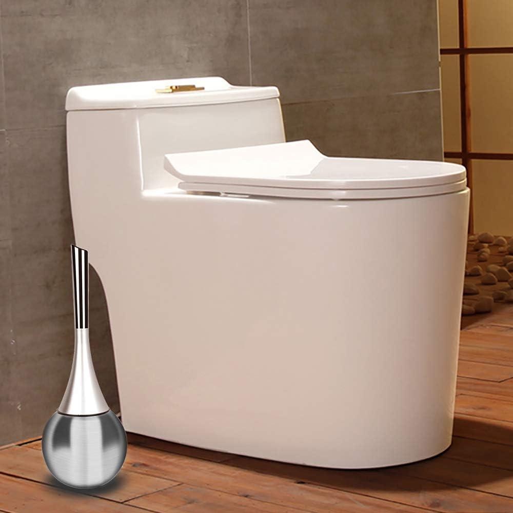 OIZEN Elegante Scopino WC di Acciaio Inox e Plastica Spazzola per Bagno Argento